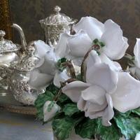 アンティークシルバーの銀器とお花㉜~バラのティーセット♪ - アンティークな小物たち ~My Precious Antiques~