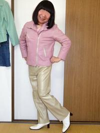 ピンクのライダースを着てみたわ - レザー純子