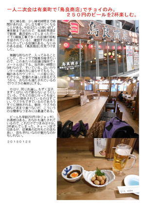 一人二次会は有楽町で「鳥良商店」でチョイのみ。250円のビールを楽しむ。