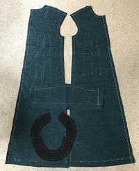 古結城紬のワンピース裁判印付け - アトリエ A.Y. 洋裁教室