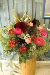 紅茶専門店さまへ 開店祝いの花 - 北赤羽花屋ソレイユの日々の花