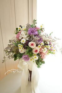#紫&ピンクのお花を束ねたクラッチブーケ! - momo★スタイル
