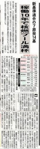 稼働10年で核燃プール満杯新基準適合の7原発14基/一時保管も手一杯核心東京新聞 - 瀬戸の風