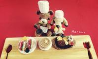 ハンバーグ、クラブハウスサンドに熊のコックさんの編みぐるみ - ミトン☆愛犬 編みぐるみ Maronyのアトリエ