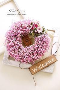 かすみ草「 お花畑」ドライフラワーリース - Pastel green - Flower diary