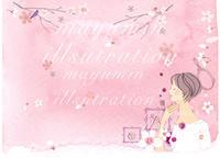 女性と花のベースモチーフハルメクおしゃれ美容特集 - まゆみん MAYUMIN Illustration Arts