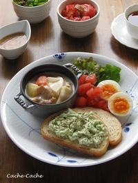 筍と大豆ミートのクリームシチューと、アボカドトーストのワンプレート♪ - Cache-Cache+