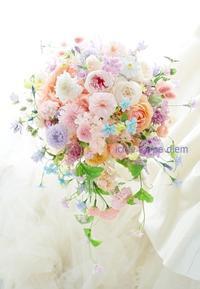 シャワーブーケ、一会風   プリザーブドとアーティフィシャルで お二人だけの結婚式のために - 一会 ウエディングの花