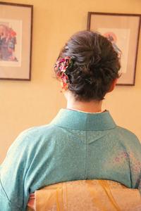 入学式 和装のアップスタイル ヘアアレンジ 着物髪型 母 さくら市 美容室エスポワール - 美容室エスポワール