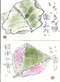 柏餅と道明寺 味比べ ♪♪ - NONKOの絵手紙便り