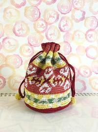 模様編みの巾着ポーチを編みました。 - 作ってる時間が楽しいから