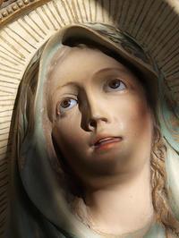 聖母マリア オーバルレリーフ グラスアイ / F259 - Glicinia 古道具店