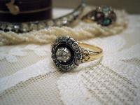 美しいフォルムのエナメル ダイヤモンドリング - AntiqueJewellery GoodWill