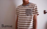 キッズTシャツ(パターンレーベル)120cmベージュボーダー - Bamse
