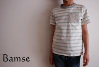 キッズTシャツ(パターンレーベル)120cm水色ボーダー - Bamse