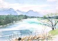犀川から見る北アルプス - ryuuの手習い