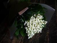 5/1の「ミュゲ(スズラン)の日」に、スズラン50本の花束。南郷通3にお届け。2018/05/02。 - 札幌 花屋 meLL flowers