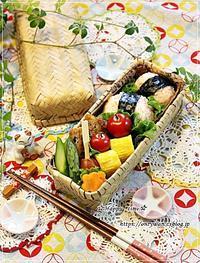 竹編み弁当箱で鮭おむすび弁当と娘のおみやで今夜は沖縄そば♪ - ☆Happy time☆