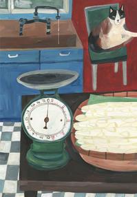 今日の絵「猫とアスパラガス」 - vogelhaus note