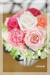 母の日アレンジ* レッスン - Flower letters