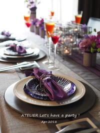「4月のテーブルコーディネート&おもてなし料理レッスン」は13日まで~♪ - ATELIER Let's have a party ! (アトリエレッツハブアパーティー)         テーブルコーディネート&おもてなし料理教室