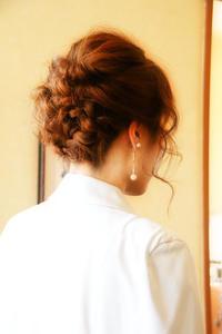 結婚式ボブヘアアレンジアップスタイル髪型ストレートブライダルヘアお呼ばれスタイルさくら市美容室エスポワール - 美容室エスポワール