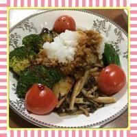たっぷりの鬼おろし大根をトッピングした野菜のグリルプレート - kajuの■今日のお料理・簡単レシピ■