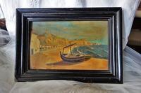 木製黒額入り油絵「船」値下げ - スペイン・バルセロナ・アンティーク gyu's shop