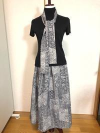着物リメイク作家物の更紗反物をギャザースカートと細マフラーに。 - 着物ドレス・着物リメイク オーダーのポマル通信