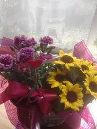 母の日の盛花、ひまわり、カーネ―ション - 活花生活(2)