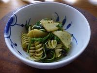 筍とパスタ、葉野菜のジェノベーゼ和えサラダ - LEAFLabo