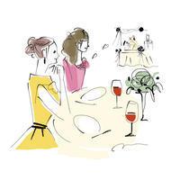 ウエディングパーティのテーブルで - 女性誌、web、広告 |美しい女性と花と食のイラストレーション|まゆみん