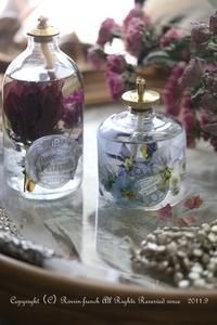 最近作ったモノ(1)お花が美しいリキッドキャンドルのランプ - フレンチシックな家作り。Le petit chateau