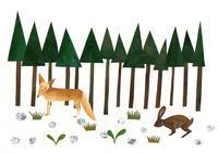 山の中、キツネとウサギ イラスト - 手製本クリエイター&切絵コラージュ作家 yukai の暮らしを愉しむヒント