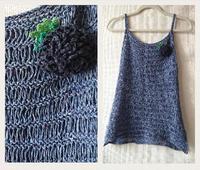 ドライブ編みのニットキャミソール - 空色テーブル  編み物レッスン