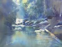 渓流 水彩画  - はるさき水彩画blog