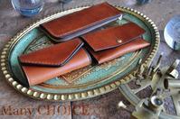 イタリアンヴィンテージバケッタレザー・L型ペンケースとキーケースと名刺入れ - 時を刻む革小物 Many CHOICE~ 使い手と共に生きるタンニン鞣しの革