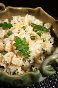 ■【菜園グリンピースと 竹の子の炊き込みご飯】 バター正油味で香ばしくて滅茶美味です♪ - 「料理と趣味の部屋」