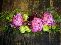 演奏会に出演される方へブリキコンテナアレンジメント。「淡い色合い、やさしい感じ」。2018/05/23。 - 札幌 花屋 meLL flowers