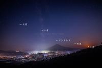 富士山上空で天体ショー - 山麓風景と編み物