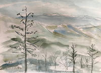 二ツ森山山頂から南アルプスを望む(水彩画)他二作品 - 夏目明美作品集*油絵・水彩画