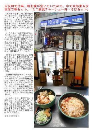五反田で仕事、朝お腹が空いていたので、ゆで太郎東五反田店で朝セット。「ミニ高菜チャーシュー丼・そばセット」
