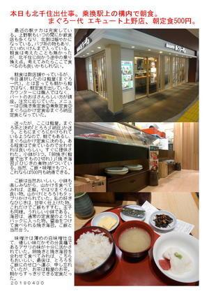 本日も北千住出仕事。乗換駅上の構内で朝食。まぐろ一代 エキュート上野店、朝定食500円。