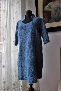 ブルーコットンビンテージドレス1 - スペイン・バルセロナ・アンティーク gyu's shop