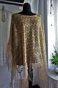 金糸のポンチョ - スペイン・バルセロナ・アンティーク gyu's shop