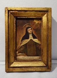 聖テレジア像入り木製金彩額752 - スペイン・バルセロナ・アンティーク gyu's shop