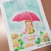 アジサイと水たまりと女の子 - アトリエ絵くぼのパステルアート教室