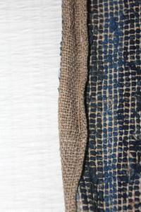 古布木綿紙縒り裂き織巻物Japanese Antique Koyori-paper Sakiori Scroll - 京都から古布のご紹介