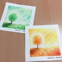 一本の木 カラーバリエーション - アトリエ絵くぼのパステルアート教室