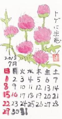 ほほえみ 2018年7月 あざみ - ムッチャンの絵手紙日記